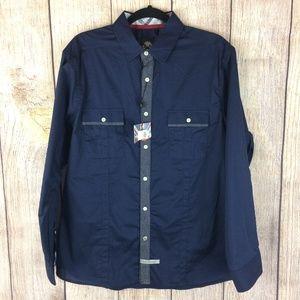 English Laundry NWT Navy Blue Dress Shirt Sz L